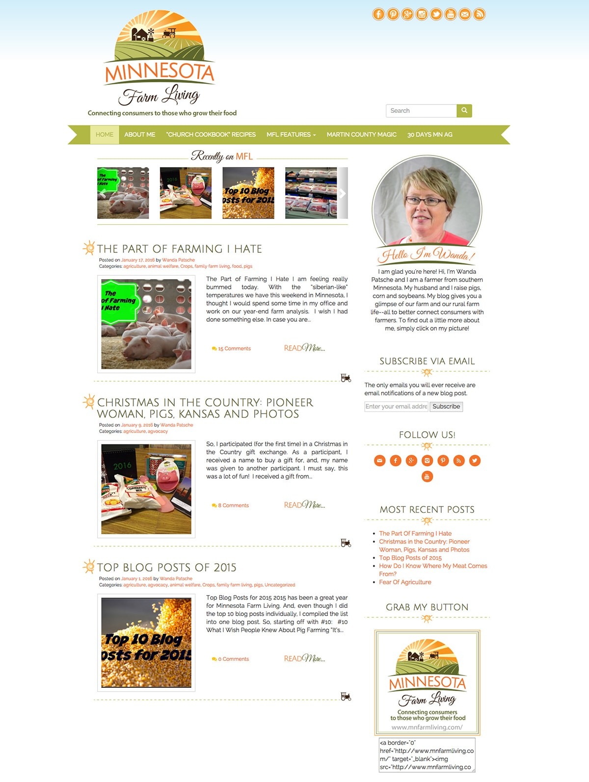 Minnesota Farm Living Clean Blog Design