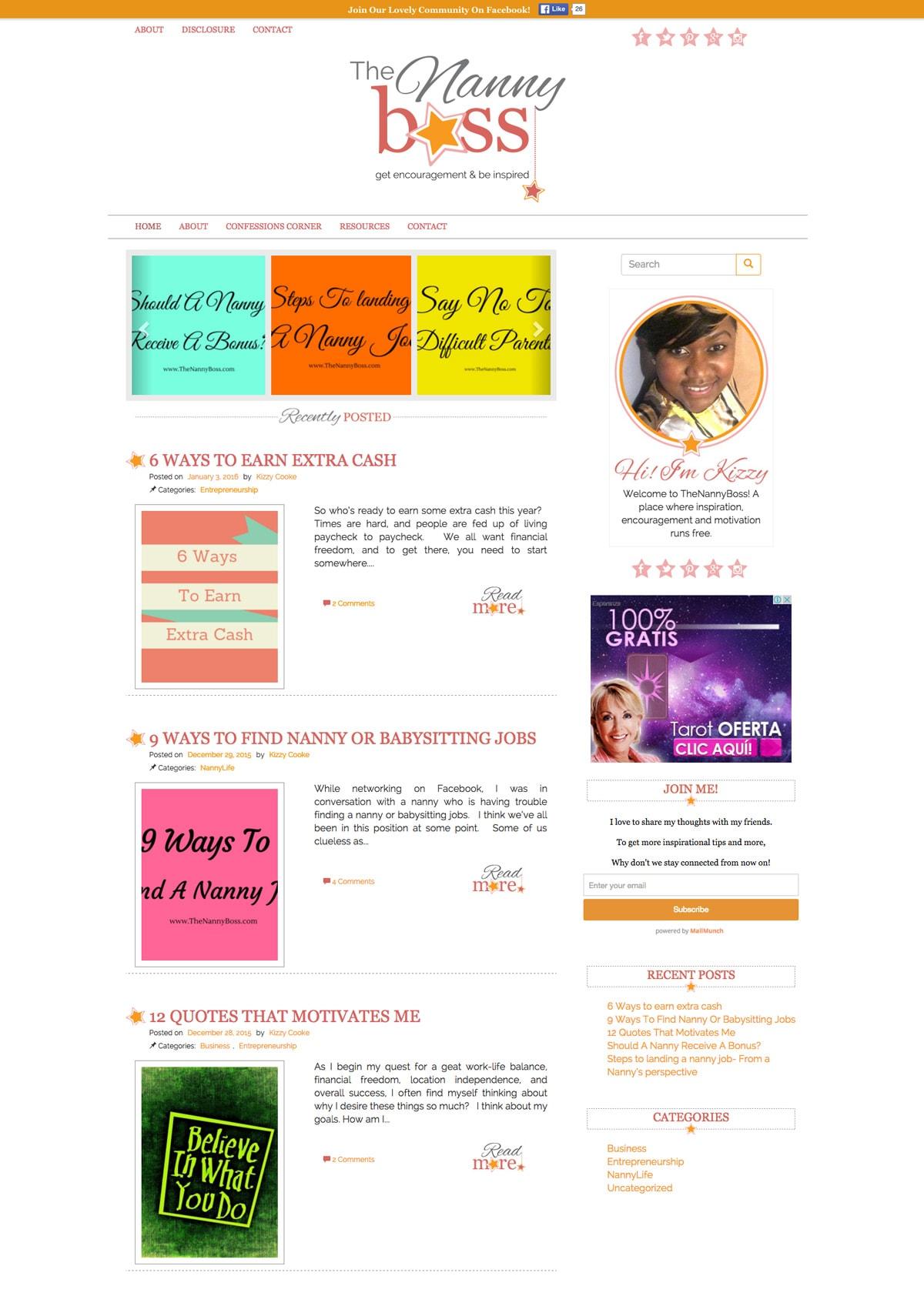 The Nanny Boss Fresh Blog Design