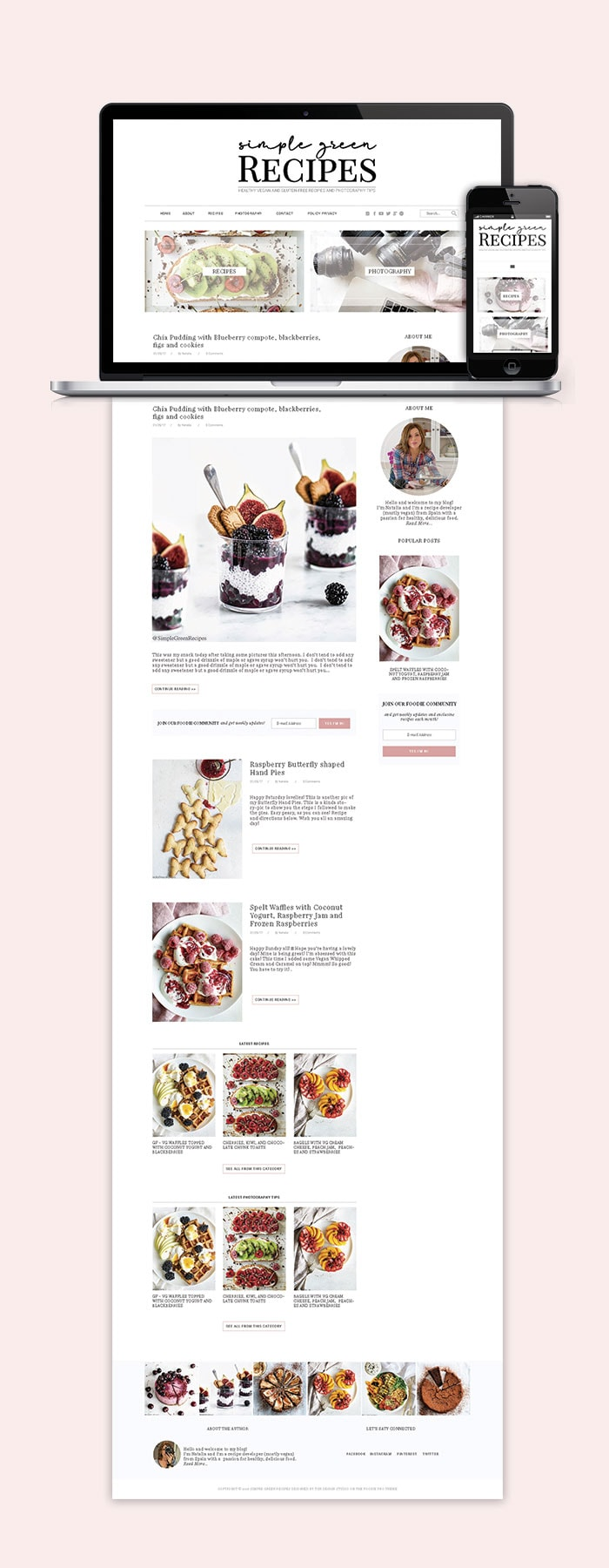 Simple Green Recipes Website Blog Design 2019