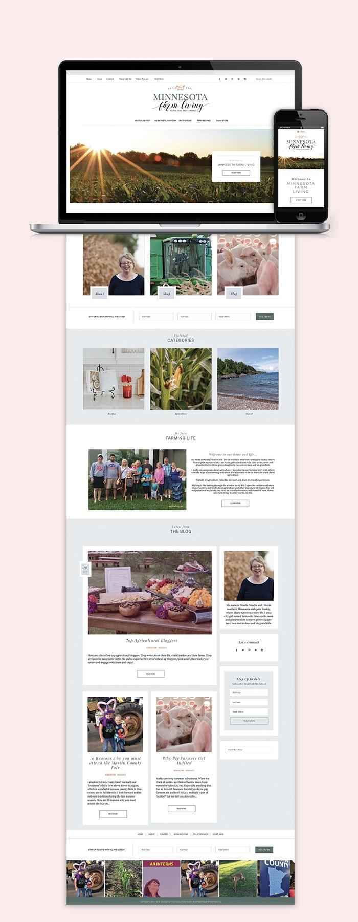Minnesota Farm Living Website Blog Design