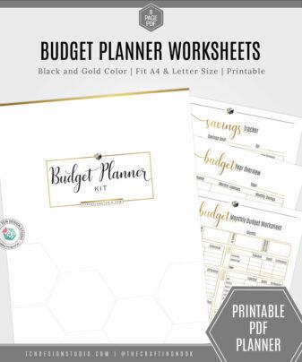 Budget Planner Worksheet Kit, Black and Gold