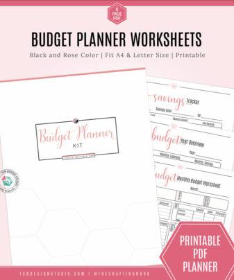 Budget Planner Worksheet Kit, Black and Rose