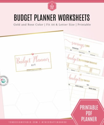 Budget Planner Worksheet Kit, Gold and Rose