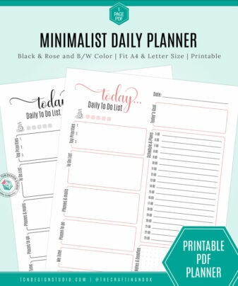 Minimalist Daily Planner printable