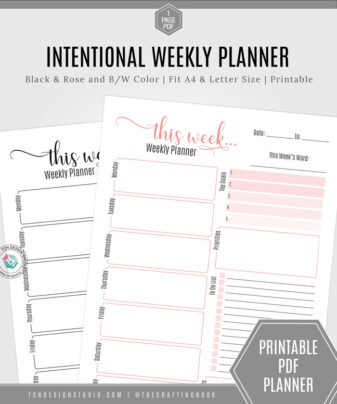 Intentional Weekly Planner Black and Rose