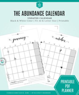 The Abundance Calendar Printable Undated