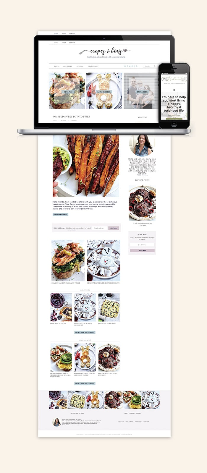 Crepes and Bows Website Blog Design 2019